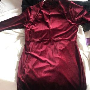 Velvet burgundy wine dress